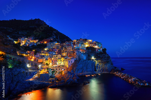 Foto op Plexiglas Donkerblauw Manarola at night