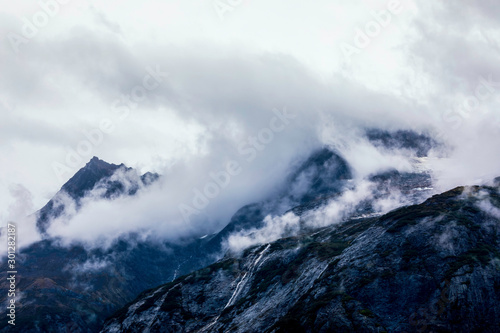 Clouds Hugging Mountain on Rainy Day