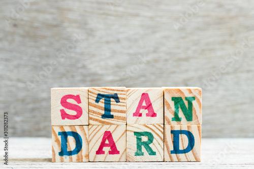 Foto Letter block in word standard on wood background