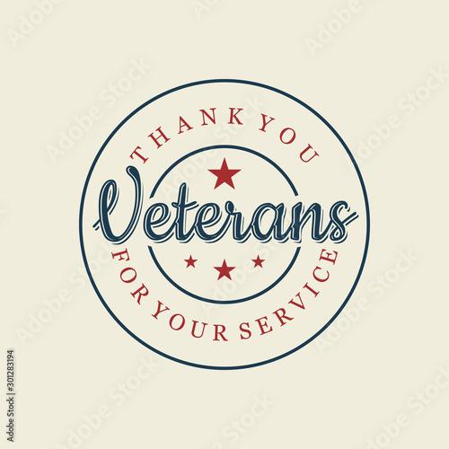 Happy Veterans day letter vintage style emblem stamp background Poster Mural XXL