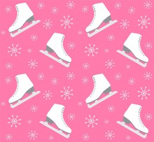 Ector Seamless Pattern Of Flat Cartoon Ice Skates And Snow Flakes Isolated On Pink  Background