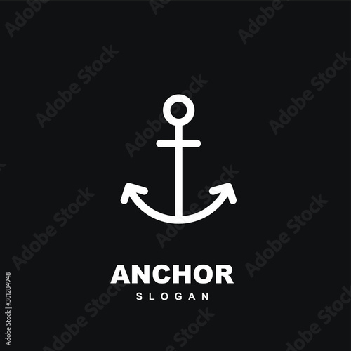 Leinwand Poster Modern black Line anchor logo icon design vector illustration