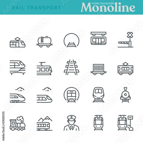 Fotografie, Tablou Rail transport Icons,  Monoline concept The icons were created on a 48x48 pixel aligned, perfect grid providing a clean and crisp appearance