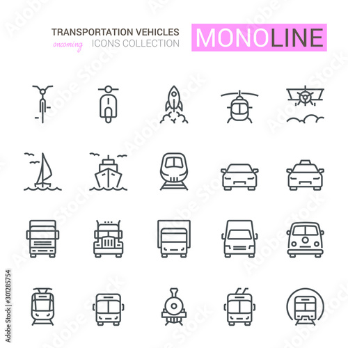 UNIVERSAL TRANSPORT ICONS, FRONT VIEW,  Monoline concept The icons were created on a 48x48 pixel aligned, perfect grid providing a clean and crisp appearance Tablou Canvas