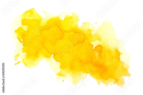 Fototapeta abstract watercolor background.splash brush color yellow on paper. obraz