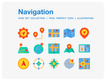 Navigation Icons Set. UI Pixel Perfect Well-crafted Vector Thin Line Icons. The Illustrations Are A Vector.