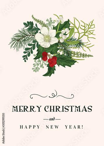 Christmas floral card.