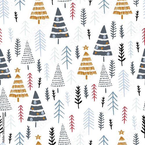 Türaufkleber Künstlich Winter seamless pattern with christmas trees, spruce woods on white background. Surface design for textile, fabric, wallpaper, wrapping, giftwrap, paper, scrapbook and packaging.