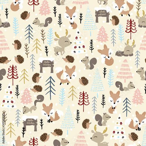 boze-narodzenie-bez-szwu-jelen-lis-jez-wiewiorka-i-swierk-powitanie-sezonu-zimowe-swieta-bozego-narodzenia-sliczne-zwierzeta-lesne