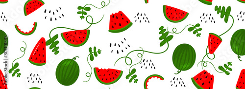 Seamless pattern bright light pattern with Watermelon, watermelon slices for fabric, drawing labels, print on t-shirt, wallpaper of children's room, fruit background. Vector summer seamless pattern.