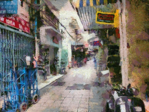 Poster Maroc Wholesale clothing market in Bangkok Illustrations creates an impressionist style of painting.