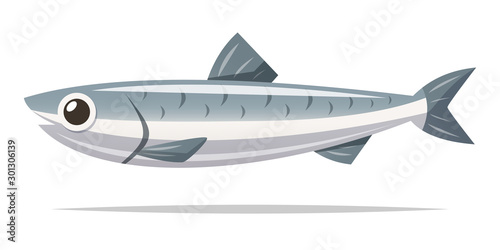 Anchovy fish vector isolated illustration Wallpaper Mural