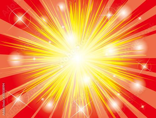 爆発した赤いキラキラした効果線 Canvas-taulu