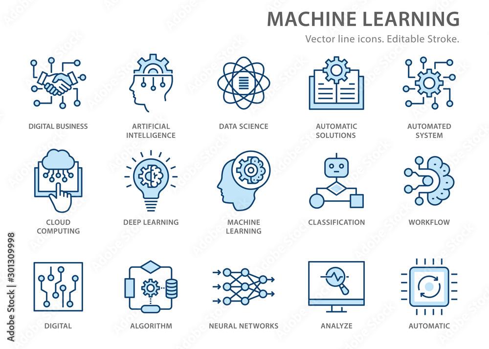 Fototapeta Machine learning line icons set. Vector illustration. Editable stroke.