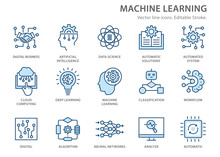 Machine Learning Line Icons Se...