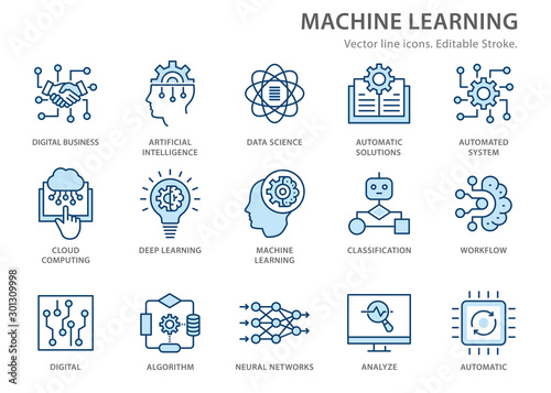 Cuadros en Lienzo Machine learning line icons set