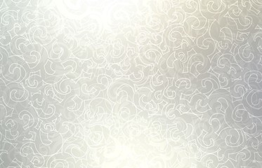Light silver loops pattern. White grey defocused background. Lens flare. Twirls pearl shiny bright texture. Plexus ornament illustration.