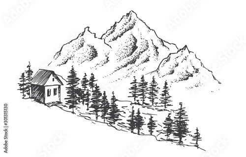 Photo Mountain landscape, hand drawn illustration
