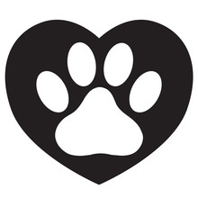 Heart With Animals Footprint Icon On White Background. Flat Style. Pet Paw In Heart Symbol. Love Paw Sign. Dog Paw And Heart Logo.