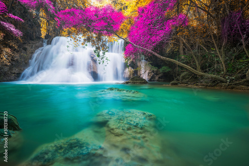 Fond de hotte en verre imprimé Cascades Amazing in nature, beautiful waterfall at colorful autumn forest in fall season