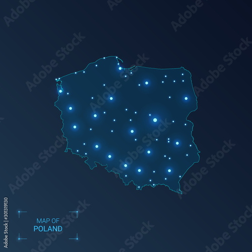 Mapa Polski z miastami. Luminous dots - neony na ciemnym tle. Ilustracji wektorowych.