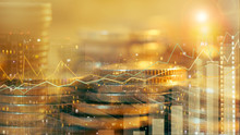Financial Investment Concept, Double Exposure Of City Night And Gold Stack Of Coins For Finance Investor, Forex Trading Candlestick Chart, Cryptocurrency Digital Economy.