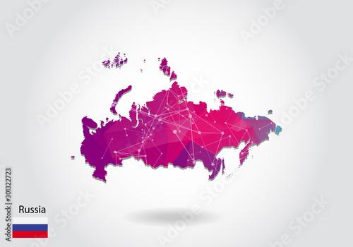 Fototapeta Vector polygonal Russia map
