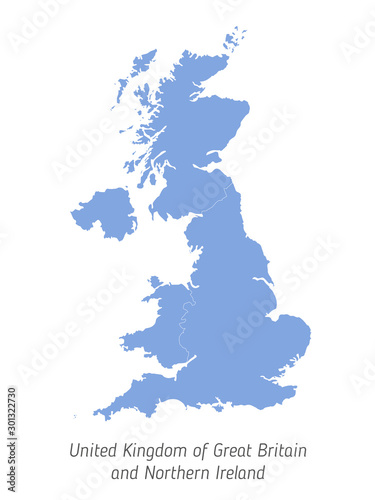 Fotomural High detailed vector map - United Kingdom of Great Britain and Northern Ireland