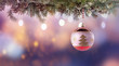 Leinwanddruck Bild Colorful Christmas ball hanging on fir branch