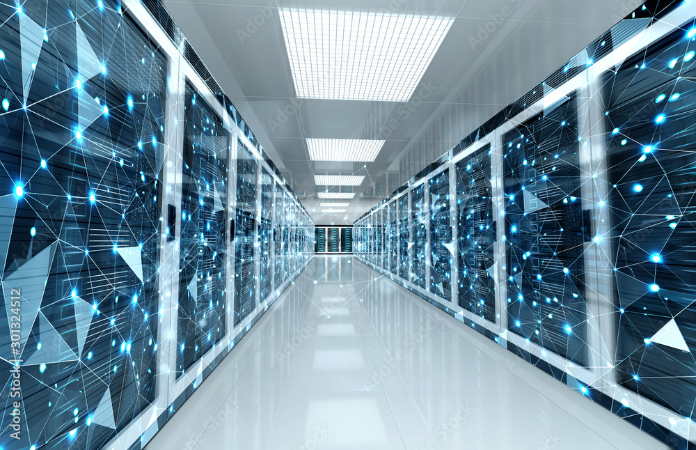 Fototapety, obrazy: Connection network in servers data center room storage systems 3D rendering