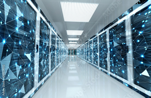 Fotografía  Connection network in servers data center room storage systems 3D rendering