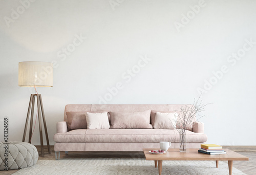 Fototapeta mock up modern interior sofa in living room, empty wall, 3D render obraz