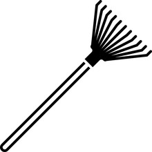 Black Garden Rake For Leaves Icon Isolated On White Background. Tool For Horticulture, Agriculture, Farming. Ground Cultivator. Vector Illustration
