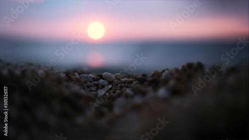 Foto op Plexiglas Purper Unusual sunset angle defocused background