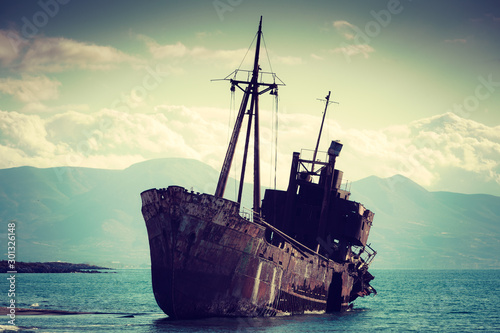 Canvas Prints Shipwreck The famous shipwreck near Gythio Greece