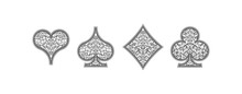 Set 4 Playing Card Suits Icons...