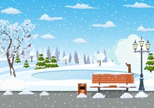 Winter Day Park Scene. Snow Covered Wooden Bench With Street Lamp And Trash Can. Christmas Landscape Background With Snow And Tree. Merry Christmas Holiday. Vector Illustration In Flat Style