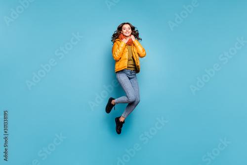 Full body photo of beautiful lady jumping high enjoy weekend playful mood warm w Wallpaper Mural
