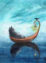 Watercolor Picture Of A Cat In  A Boat With A Lantern And  With A Black Bird On A Blue  Background
