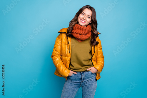 Photo of amazing millennial lady easy-going person holding hands pockets wear mo Canvas Print