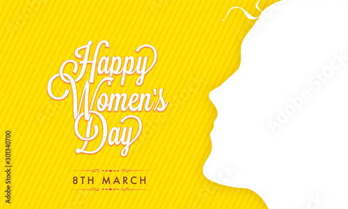 Fotomural Greeting Card with Girl Face for Women's Day Celebration.