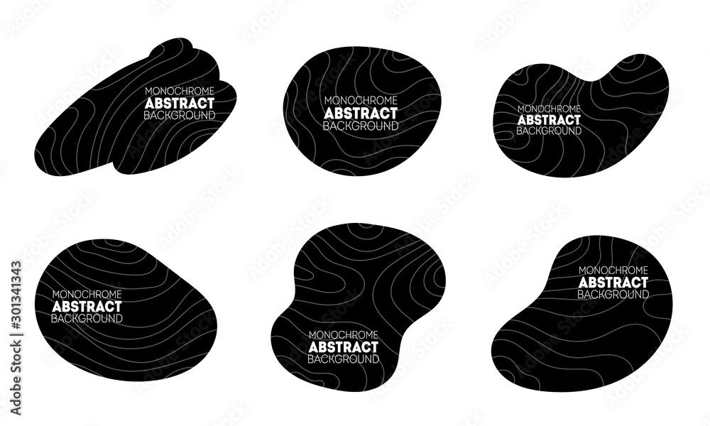 Fototapeta Dark irregular shapes set. Trendy minimal templates for presentations, flyers, apps and websites.