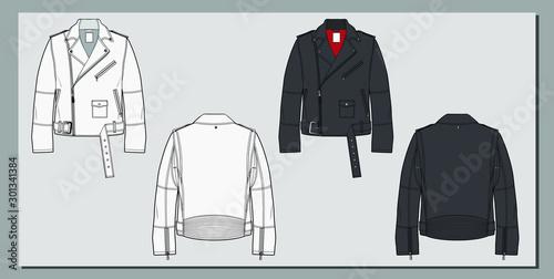 Biker perfecto jacket sketch. Motor clothing. Fashion flat illustration.