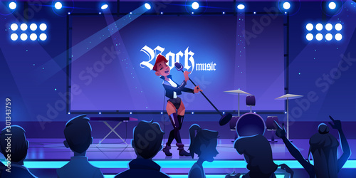Fototapeta Singer on stage performing rock music concert. Woman singing song on scene with microphone, people fans watching show with live instruments, equipment and illumination. Cartoon vector illustration obraz