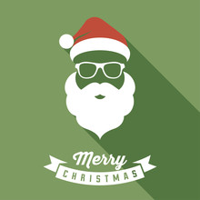 Vector Santa Face With Hats, Mustache And Beards. Christmas Santa Design Elements. Holiday Icon