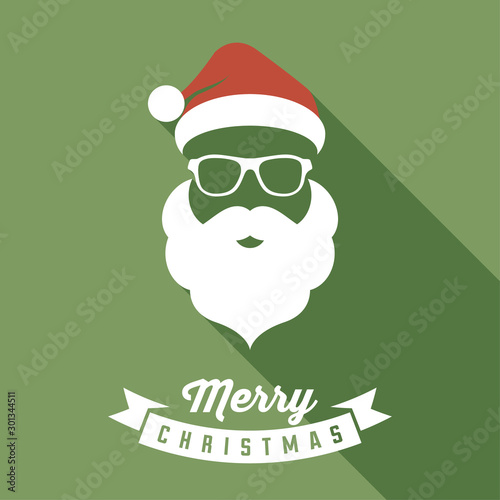 Fotomural Vector Santa face with hats, mustache and beards