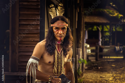 Photo native Americans.portrait of Americans Indian man.