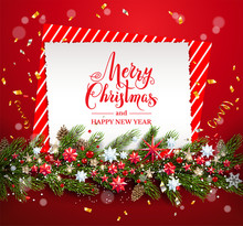 Greeting Christmas Card On Red