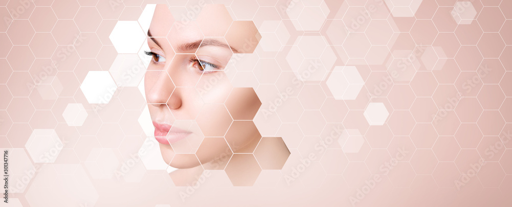 Fototapety, obrazy: Young sensual woman with mosaic honeycombs on face.