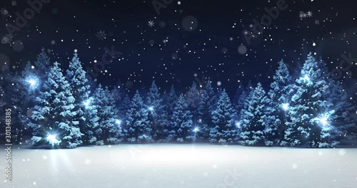 Snow covered winter forest under stormy snowfall and dark sky 4k animation loop - 301348385